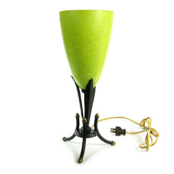 Art Nouveau Lighting with Fiberglass Lamp Shade and Two-tone Metal Base in Green / Yellow / Celadon Color