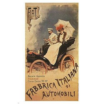 VINTAGE FIAT automobiles poster 1899 old fashioned style ITALIAN 24X36 RARE