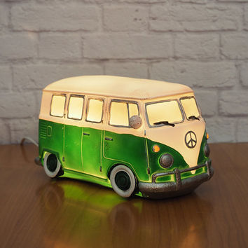 Retro VW Bus Night Light Novelty Lamp Green and White