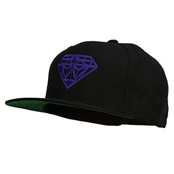 Big Diamond Outline Embroidered Flat Bill Black Cap - Purple OSFM