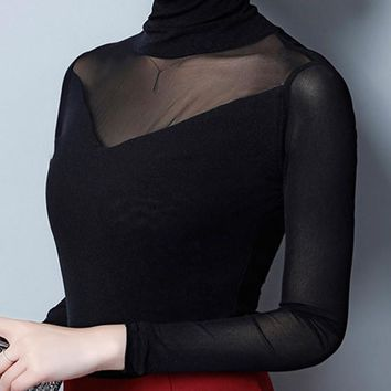 Black Patchwork Grenadine Bodycon High Neck Elegant Going out Blouse