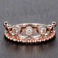 Moissanite Engagement Ring 14K Rose Gold 3mm Round Royal Crown