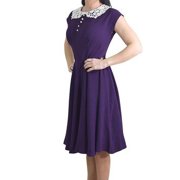 Hell Bunny 50's Vintage Style Dark Purple Crochet Collar Elegant Fit Flare Dress