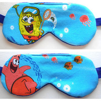 Spongebob Sleep Mask, Patrick Eye Mask, Squarepants Small Boy Present, Child Eyeshade, Soft Fleece Back, Kids Blindfold, Night Nap Cotton