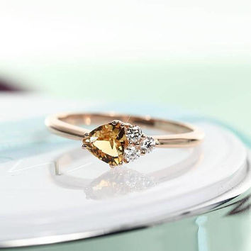 Unique Engagement ring Rose gold Engagement ring Cluster Citrine Women Diamond Wedding Triangle Bridal Set Jewelry Anniversary gift for her