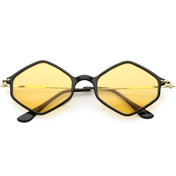 Retro Color Tone Hexagon Diamond Shape Sunglasses C740