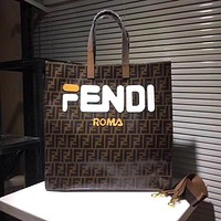 Fendi women's leather handbag shopping bag