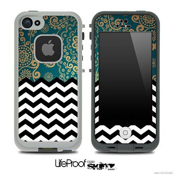 Mixed Green Lace and Chevron Pattern Skin for the iPhone 5 or 4/4s LifeProof Case