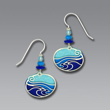 Adajio Earrings - Aqua/Blue/Purple Ovals with Imitation Rhodium Waves