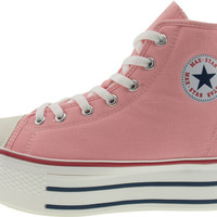 Maxstar Women's C50 7 Holes Zipper Platform Canvas High Top Sneakers Pink