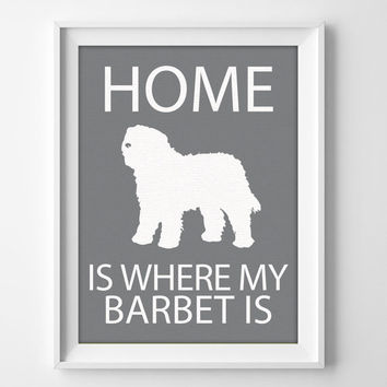 "8x10"" Barbet Wall Art, Illustrated Dog Art, Barbet Decor, Dog Breed Wall Art, Minimalist Pet Art, Barbet Dog Breed, Puppy Print, Barbet Gift"