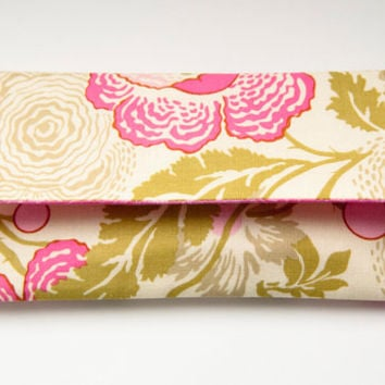 Bridesmaid Gift idea Clutch Pouch in pink green Fold Over Clutch Wedding Bridal Pouch Clutch Personalized Color flower