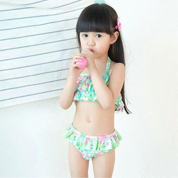 Children Bathing Suit Cute Children's Swimsuit  Flowers Printed Baby Girls Swimwear Polyester Diving Swimsuits Beach Clothes