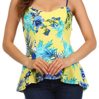 Floral Print High Low Sweetheart Top - Yellow