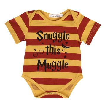 Snuggle This Muggle Summer Striped Baby Romper Inspired Baby cloth 2017 Summer Baby boy Clothes Striped Toddler Kids Jumpsuit
