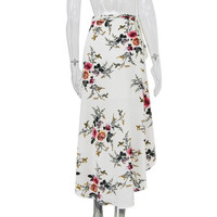 Skirts Women  Fashion Floral Print Boho Style Sexy Asymmetrical Splite High Waist Slim Long Skirts Ladies A-Line #53 GS