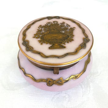 Vintage Trinket Box French Style Handpainted Urn with Flowers Vanity Table Limoges Inspired