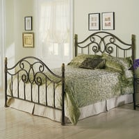 Queen Size Metal Poster Bed With Headboard & Footboard In Autumn Brown