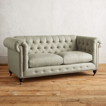 Linen Lyre Chesterfield Petite Sofa, Hickory