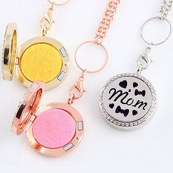 NEW High quality Mother's Day filigree lockets pendants necklace rhinestone beaded perfume necklace for Mums magnetic 60cm chain T099001