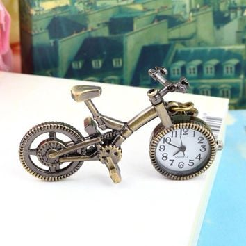 Steampunk Mechanical Pocket Watch Men Women Number Bicycle Bike Shape Antiqued Bronze Case Quartz Pocket Watch Gift