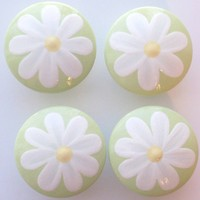 Hand Painted Drawer Pull KNOBS Girl's Light Green by LeilasLoft