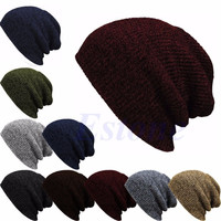 Winter Casual Cotton Hats For Women Baggy Beanie Knit  Men Hat Crochet Slouchy Oversized Ski Cap Warm Skullies Touca Gorros-S127