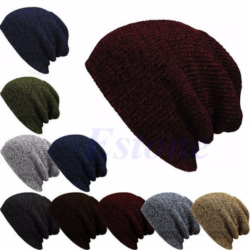 Winter Casual Cotton Knit Hats For Women Men Baggy Beanie Hat Crochet Slouchy Oversized Ski Cap Warm Skullies Toucas Gorros-J117