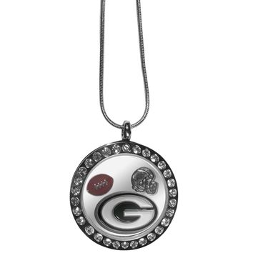 Green Bay Packers Rhinestone Floating Charm Locket Necklace