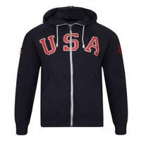 Nike RU AW77 USA 64 FZ HOODY Black & Red - Mens Clothing | The discount clearance specialists