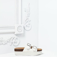 White Footbed Buckle Strap Sandals