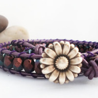Purple Passion Leather Wrap Bracelet by cieloturquesa on Etsy