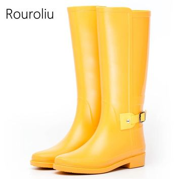 Hot New Women Fashion Knee-high Rain Boots Flat Heels Non-slip Candy Colors Rainboots Tall Buckle Waterproof Water Shoes RS11