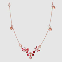 Gucci - Gucci Flora necklace in rose gold, enamel and rubies
