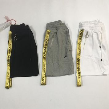 AUGUAU Off white 17ss golden belt shorts
