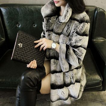 New designer 80cm cunstom vintage natural rex rabbit chinchilla fur coat with fur collar