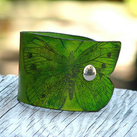 Women's Butterly Leather Wristband Cuff - Green