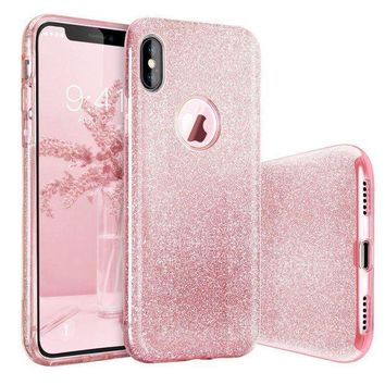 Iphone X Case Basstop Luxury Bling Crystal Glitter Sparkle Phone Case Detachable 3 Layers Shockproof Hard Pc Back Soft Tpu Inner Shining Case For Apple Iphone Xiphone 10 (pink)