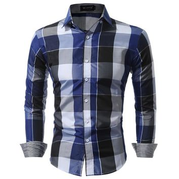 Men Shirts  Fit Mens Dress Plaid Shirts Male Clothes Social Casual Shirt Men Brand Chemise Homme Large size XXXL USNS