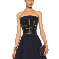 Cropped Jersey Viscose-Blend Bustier in Black & Blue