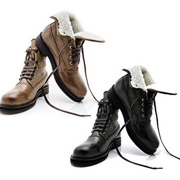 Men's Black Brown Lace Up Vintage Genuine Leather Ankle Combat Military Boots Chunky Platform Low Heels Fur Lined Warm Shoes