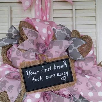Welcome Baby Girl Wreath Girl Nursery Elephant Nursery Pink Gray Nursery Elephant Wreath Baby Girl Hospital Door Baby Shower Gift Baby Decor