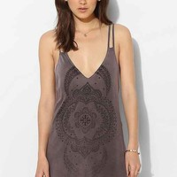 Truly Madly Deeply Filigree Moon Strappy Back Slip Dress- Purple