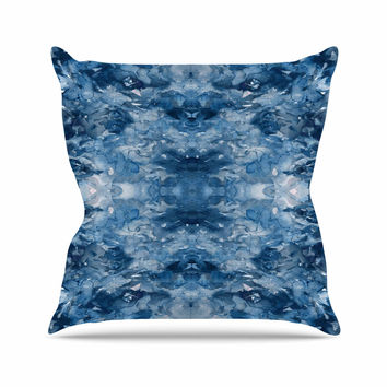 "Ebi Emporium ""Tie Dye Helix, Blue"" Blue White Outdoor Throw Pillow"
