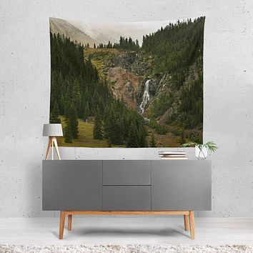 Cabin and Waterfall, Mountain Wall Tapestry - 4 Sizes