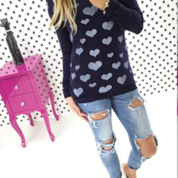 Heart Print Zipper Back Long-Sleeve Shirt
