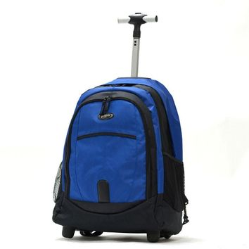 Olympia 19 inch Rolling Carry-On Wheeled Travel Backpack Luggage / Book Bag in Blue
