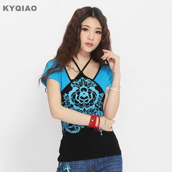 KYQIAO Ethnic t-shirt 2018 women Mexican style vintage designer o neck short sleeve blue red embroidery tribe t shirt tee top