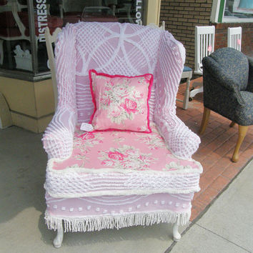 wingback chair and pillow shabby chic pink by VintageChicFurniture