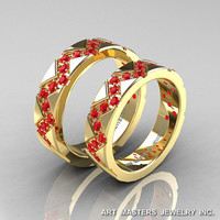 Classic Armenian 14K Yellow Gold Ruby Wedding Band Set R504BS-14KYGR